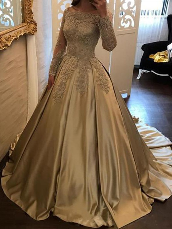 Ball Gown Long Sleeves Off-the-Shoulder Long Satin Dress