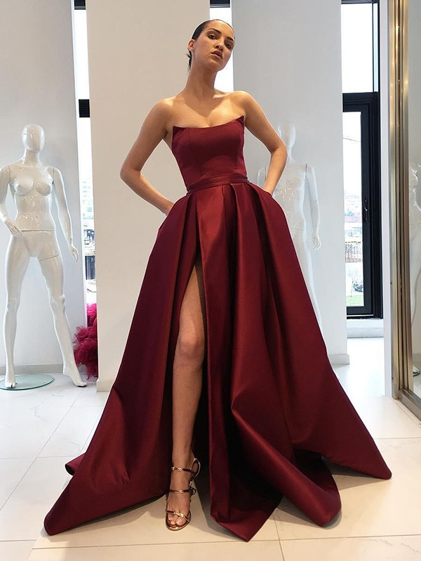 Ball Gown Strapless Long Satin Dress