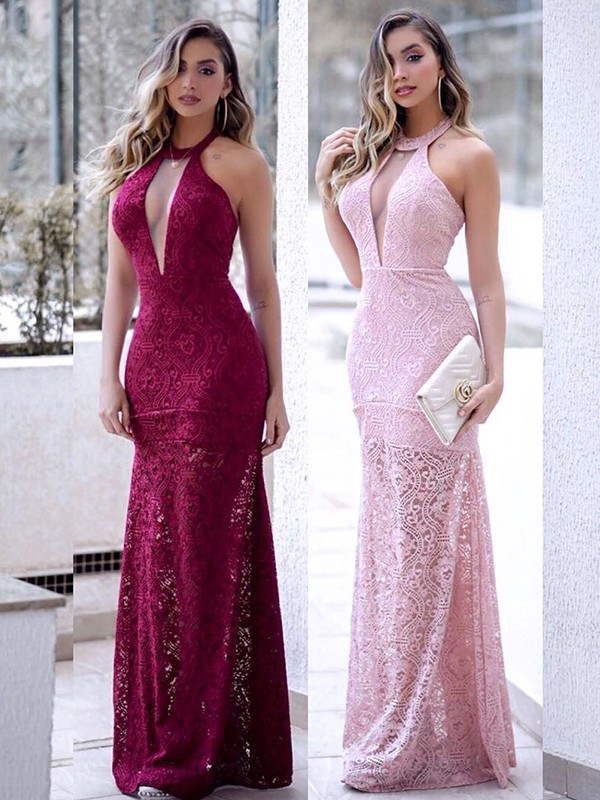 Sheath/Column Halter Long Lace Dress
