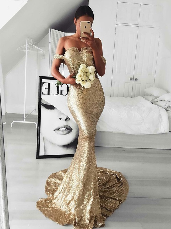 Mermaid Off-the-Shoulder Long Sequins Dress