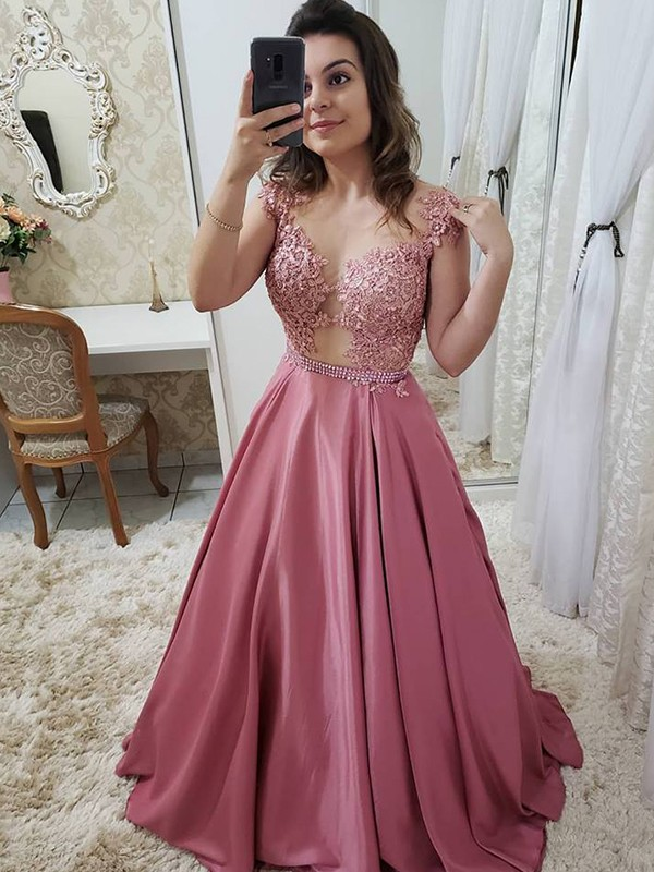 A-Line/Princess Scoop Long Satin Dress