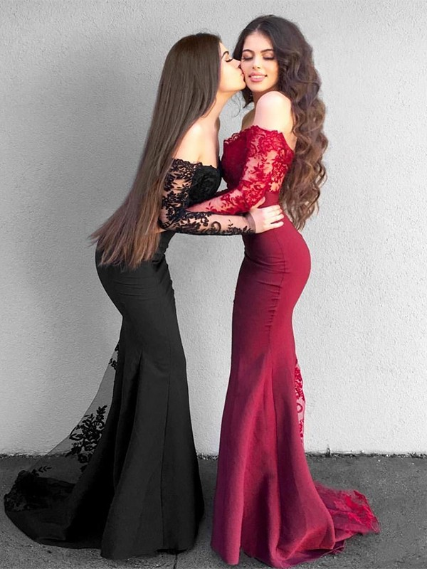 Mermaid Long Sleeves Off-the-Shoulder Long Satin Dress