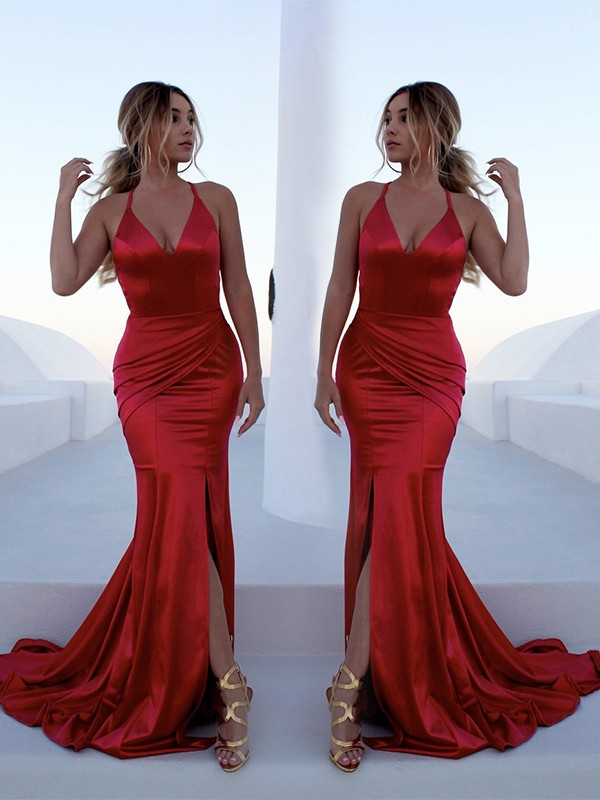 Mermaid Halter Long Elastic Woven Satin Dress