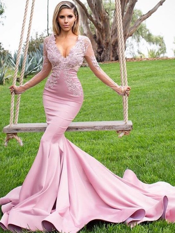 Mermaid Long Sleeves V-neck Long Satin Dress