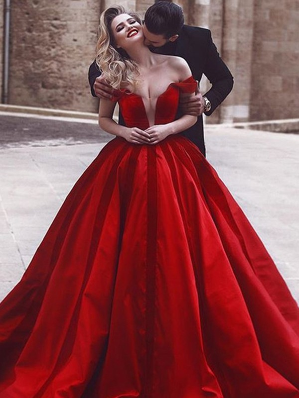 Ball Gown Off-the-Shoulder Long Satin Dress