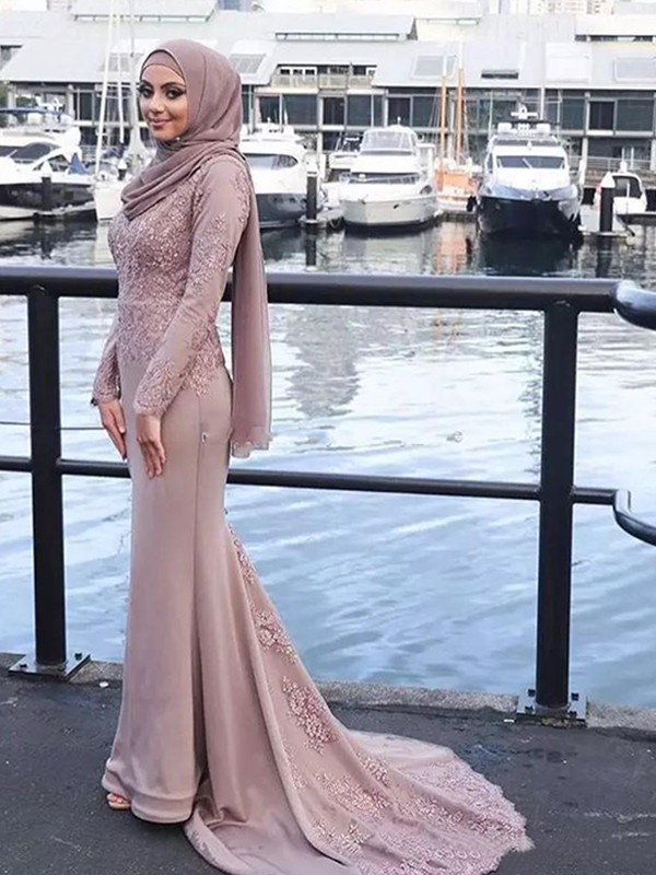 Mermaid Long Sleeves Scoop Long Satin Muslim Dress