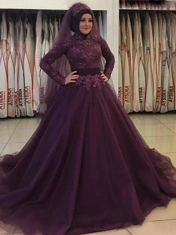 Ball Gown Long Sleeves High Neck Long Tulle Muslim Dress