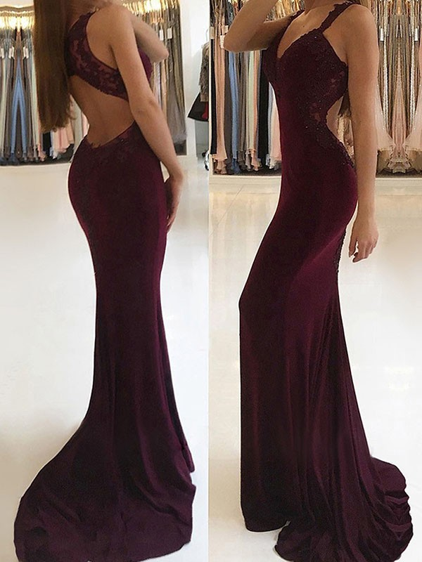 Mermaid V-neck Long Spandex Dress