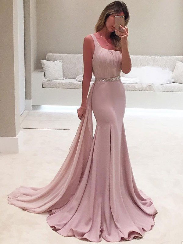 Mermaid One-Shoulder Long Chiffon Dress