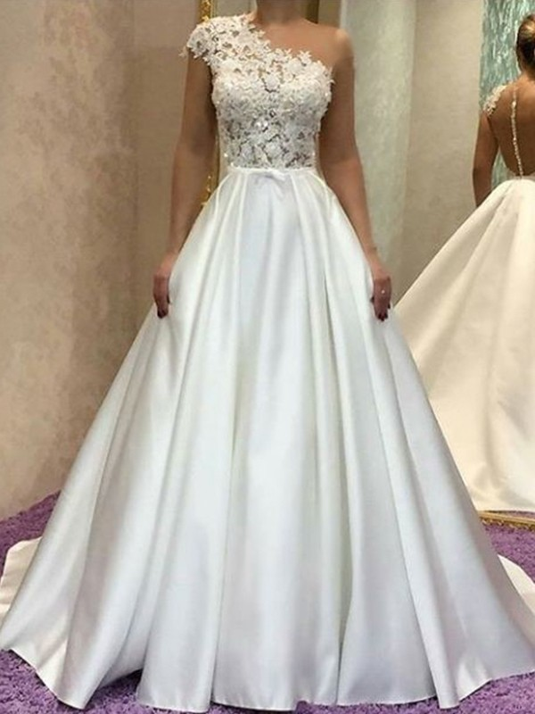 A-Line/Princess One-Shoulder Long Satin Wedding Dress