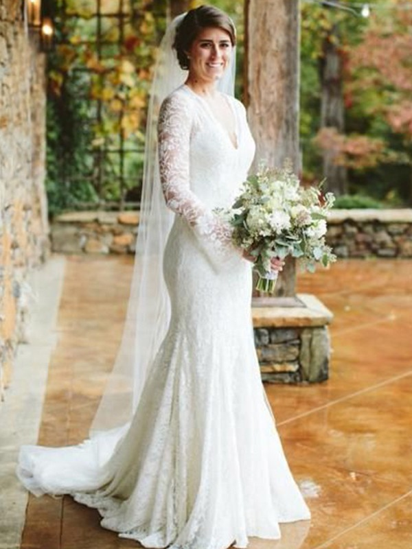 Mermaid V-neck Long Sleeves Long Lace Wedding Dress