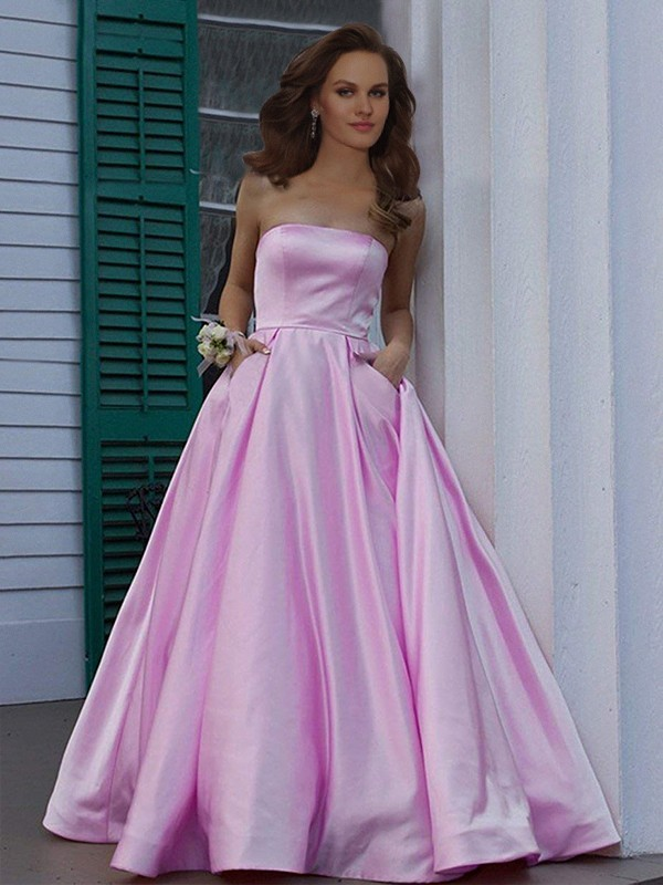 A-Line/Princess Strapless Long Satin Dress