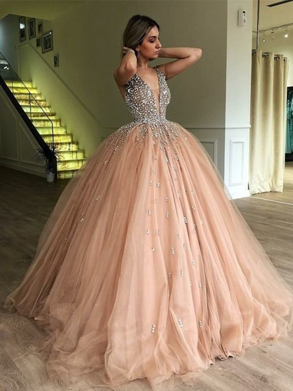 Ball Gown V-neck Long Tulle Dress