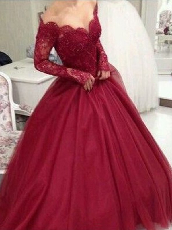 Ball Gown V-neck Long Sleeves Long Tulle Dress