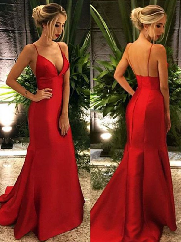 Mermaid Spaghetti Straps Long Satin Dress