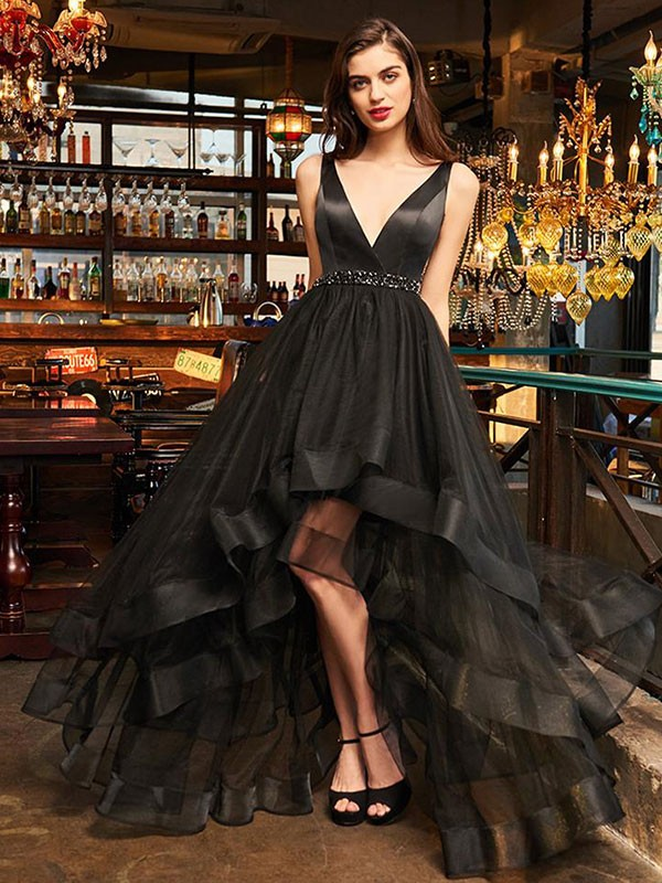A-Line/Princess V-neck Asymmetrical Organza Dress