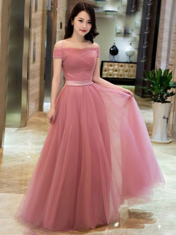 A-Line/Princess Tulle Off-the-Shoulder Long Dress