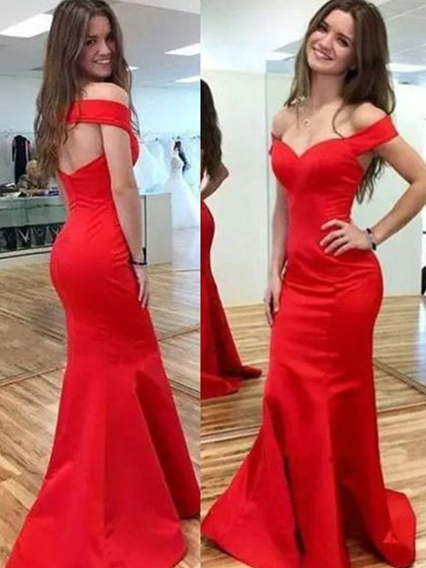 Mermaid Off-the-Shoulder Long Satin Dress