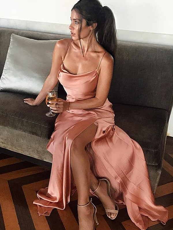 Sheath/Column Spaghetti Straps Long Silk like Satin Dress