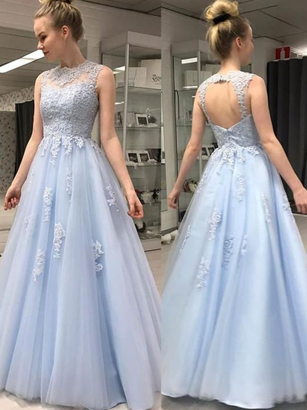 A-Line/Princess Sheer Neck Long Tulle Dress