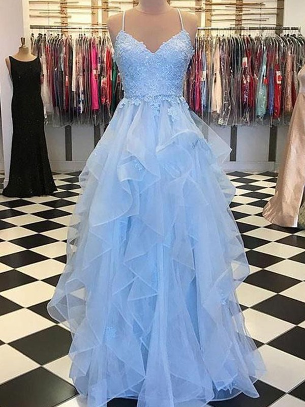 A-Line/Princess Spaghetti Straps Long Organza Dress