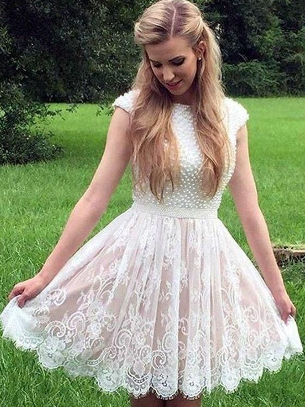 A-Line/Princess Lace Pearls Sheer Neck Short Dress