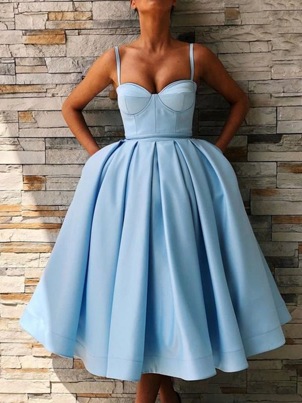 Ball Gown Satin Spaghetti Straps Tea-Length Dress