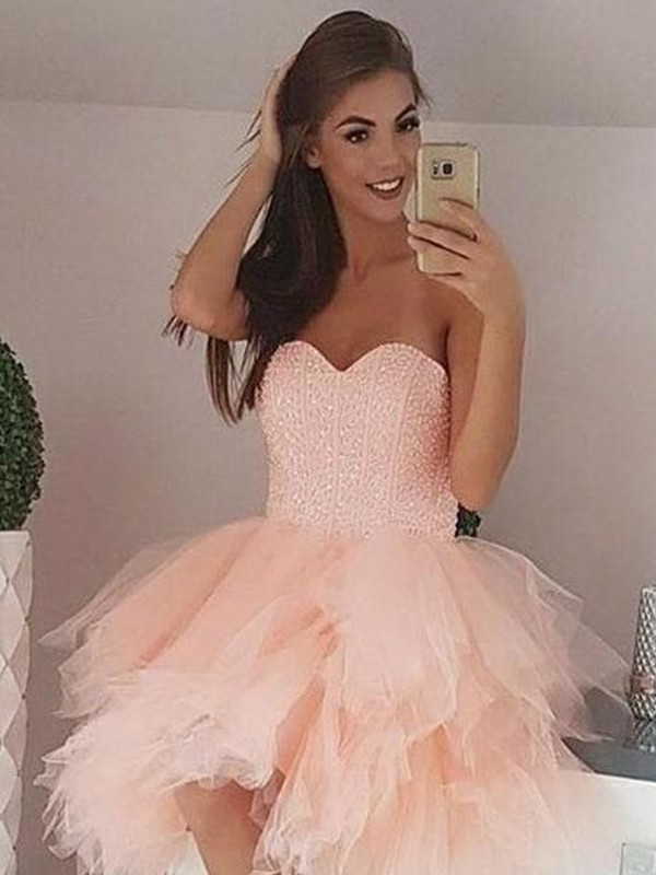A-Line/Princess Tulle Sweetheart Short Dress