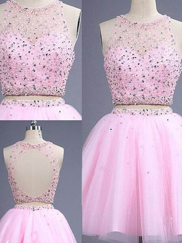 A-Line/Princess Scoop Short Tulle Two Piece Dress
