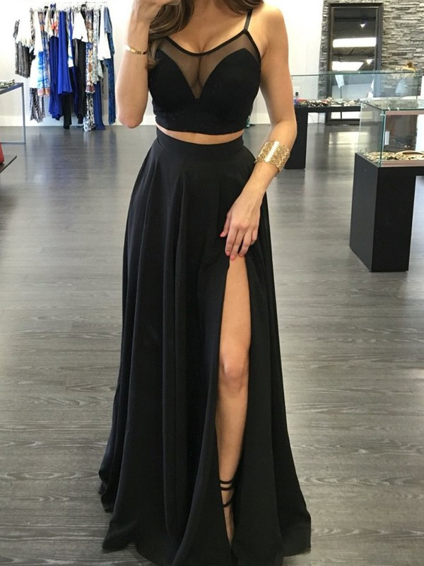 A-Line/Princess Spaghetti Straps Long Chiffon Two Piece Dress