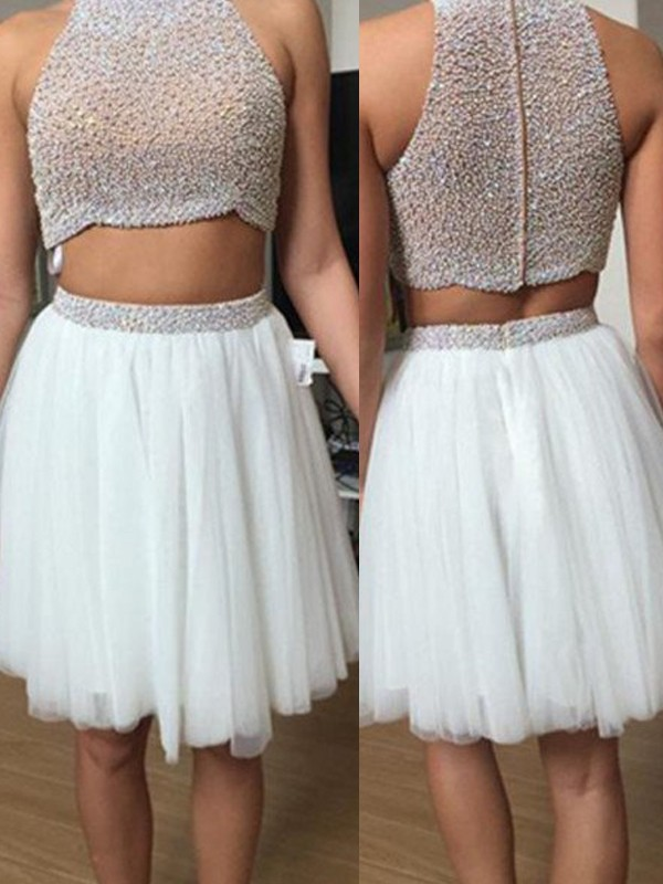 A-Line/Princess High Neck Tulle Short Two Piece Dress