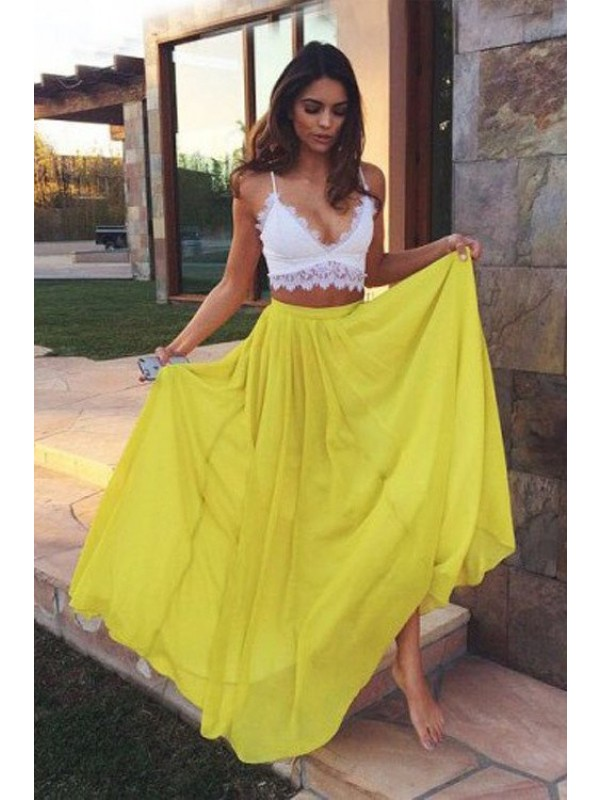 A-Line/Princess Straps Long Chiffon Two Piece Dress