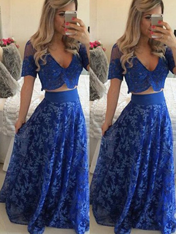 A-Line/Princess V-neck Short Sleeves Long Lace Two Piece Dress