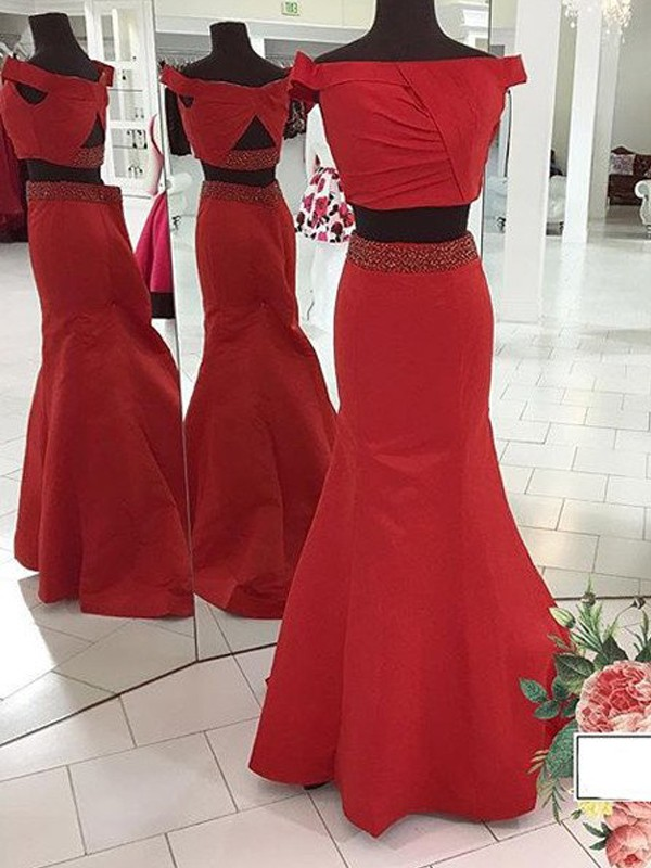 Mermaid Off-the-Shoulder Long Satin Two Piece Dress