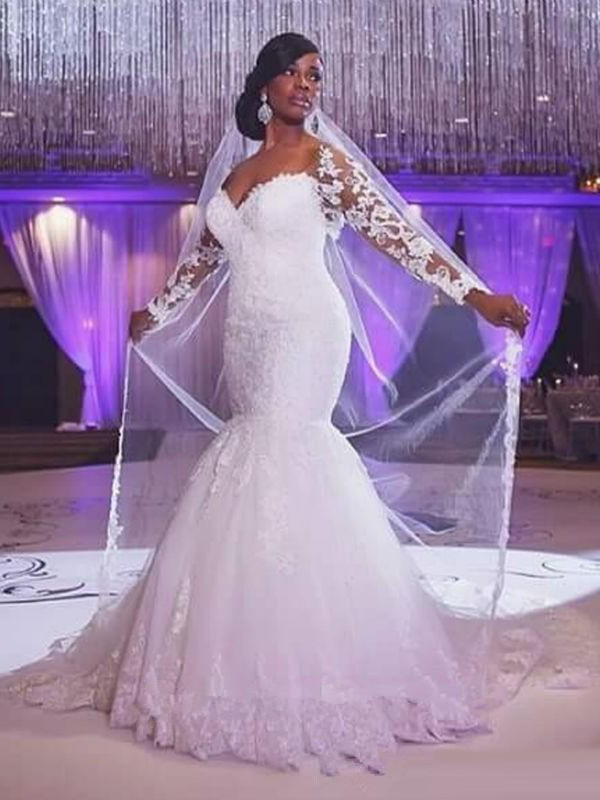 Mermaid Long Sleeves Sweetheart Long Tulle Wedding Dress