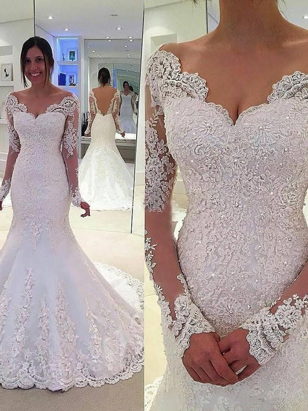 Mermaid V-neck Long Sleeves Lace Long Tulle Wedding Dress