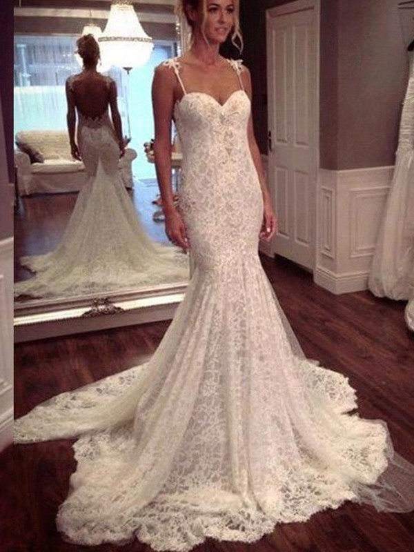 Mermaid Long Spaghetti Straps Lace Wedding Dress