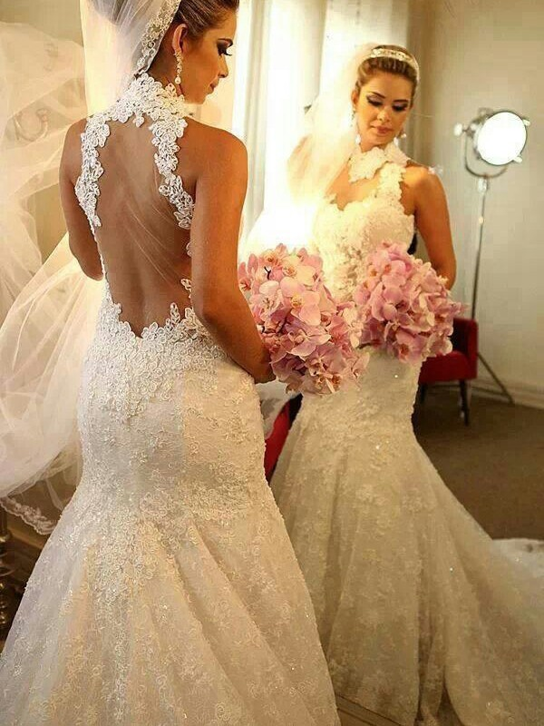Mermaid High Neck Lace Long Wedding Dress