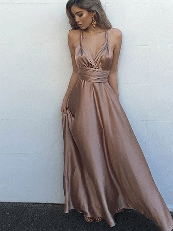 A-Line/Princess Spaghetti Straps Silk like Satin Long Dress