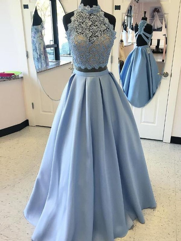 Ball Gown High Neck Long Satin Two Piece Dress