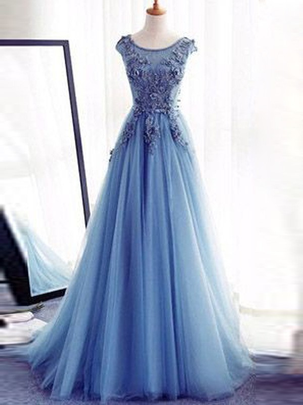 Ball Gown Jewel Long Tulle Dress