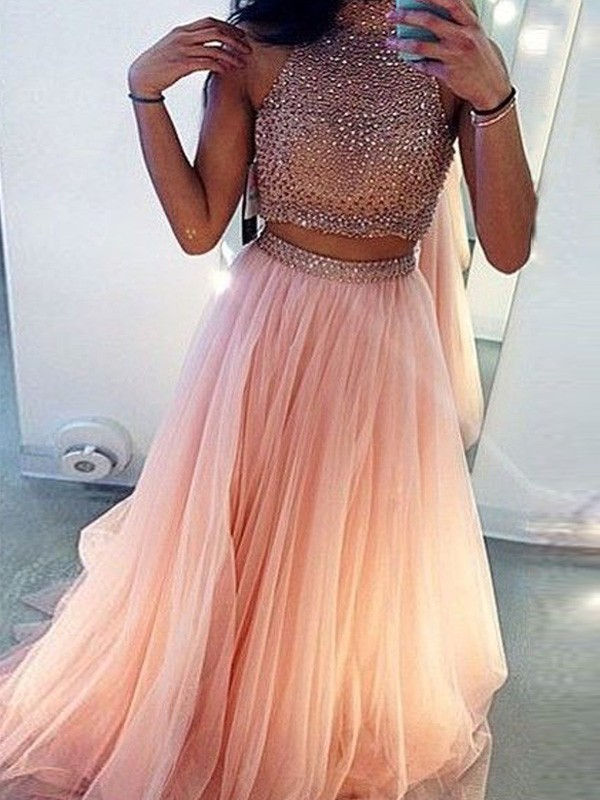 A-Line/Princess High Neck Tulle Long Two Piece Dress