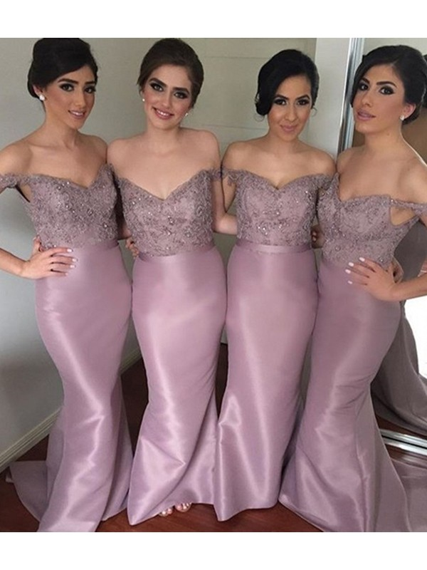 Mermaid Off-the-Shoulder Long Satin Bridesmaid Dress
