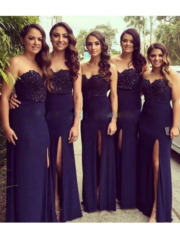 A-Line/Princess Sweetheart Long Lace Spandex Bridesmaid Dress