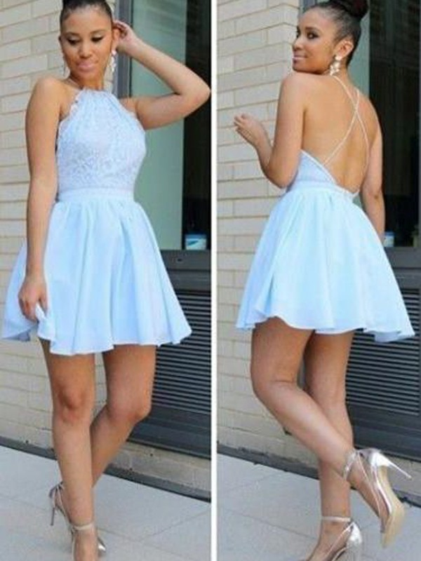 A-Line/Princess Halter Lace Short Chiffon Dress