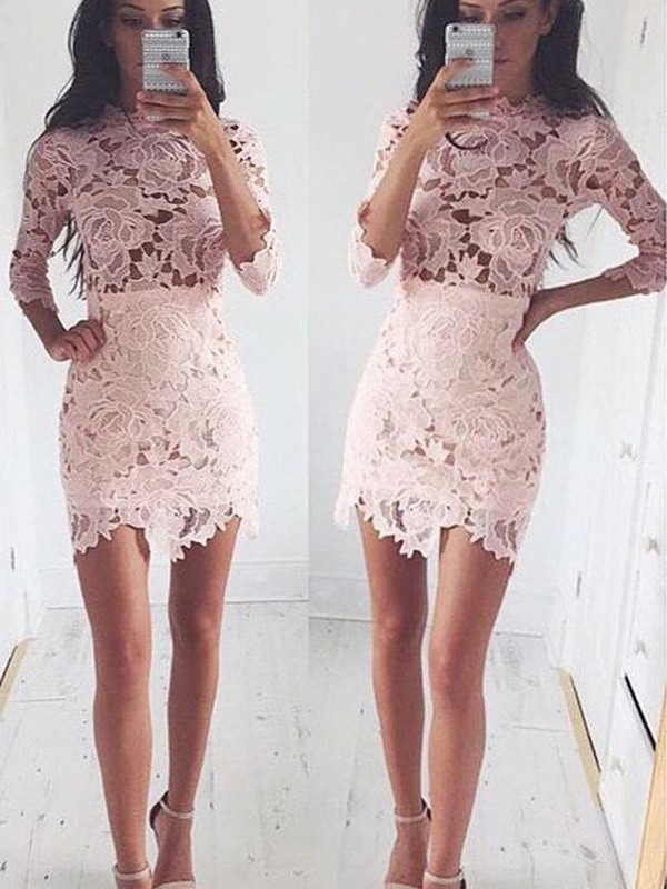 A-Line/Princess 1/2 Sleeves Scoop Lace Short Dress