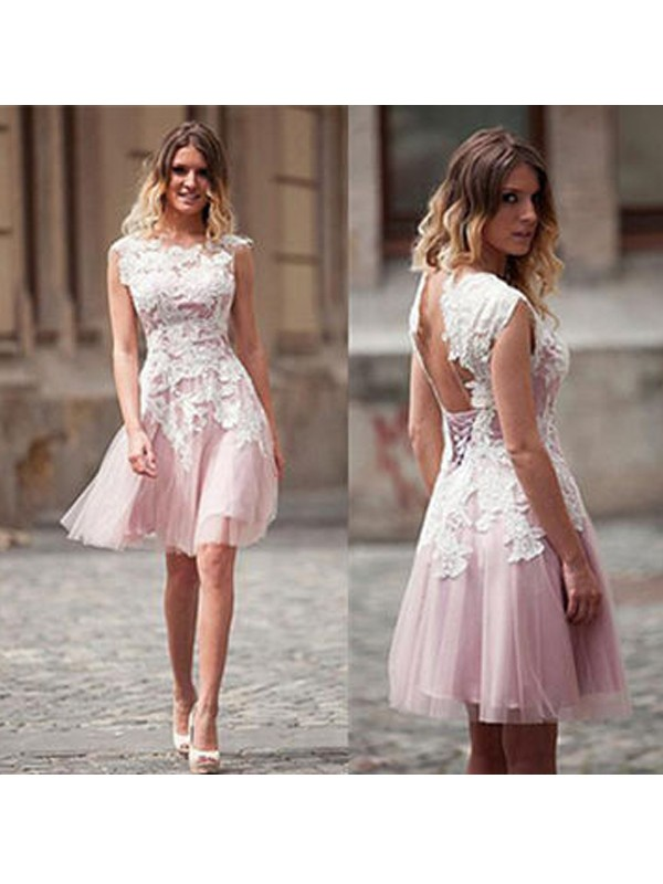 A-Line/Princess Scoop Tulle Short Dress