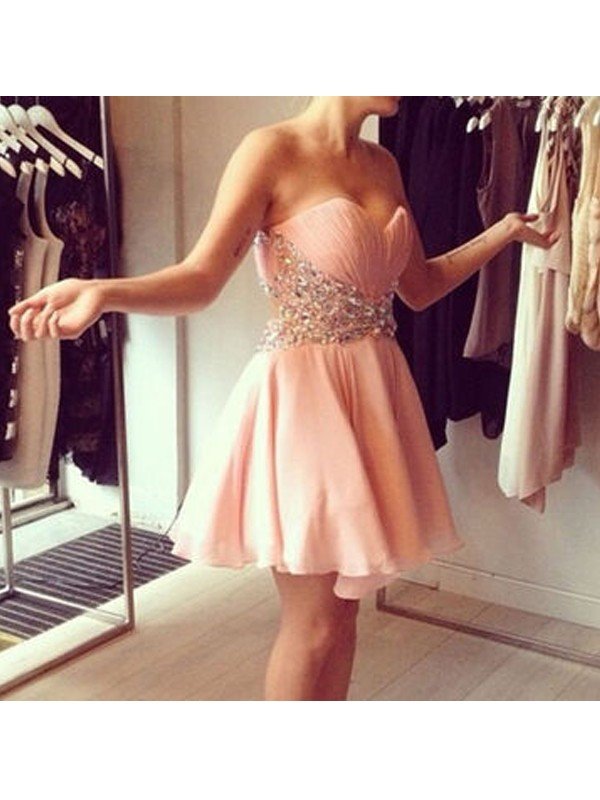 A-Line/Princess Sweetheart Chiffon Short Dress
