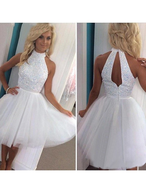 A-Line/Princess Halter Tulle Short Dress