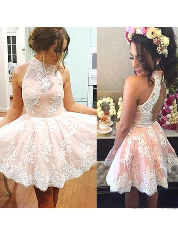 A-Line/Princess High Neck Lace Short Dress